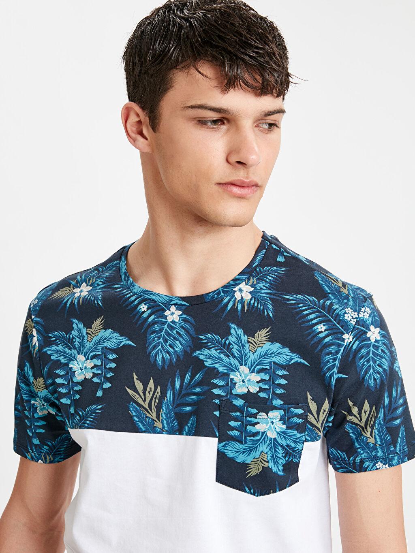 Erkek Çiçek Baskılı Bisiklet Yaka Pamuklu Tişört