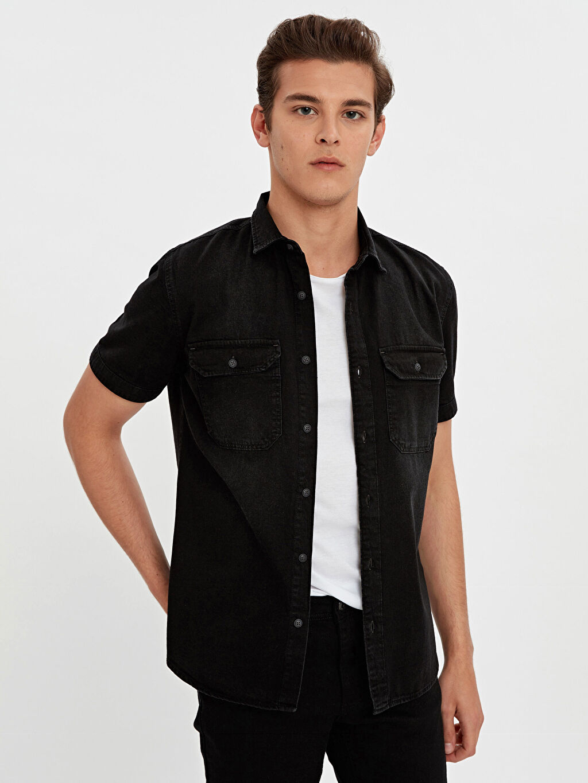 Siyah Slim Fit Kısa Kollu Jean Gömlek 9S9299Z8 LC Waikiki