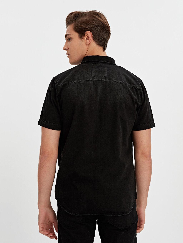 %100 Pamuk Dar Kısa Kol Düz Gömlek Düğmesiz Slim Fit Kısa Kollu Jean Gömlek