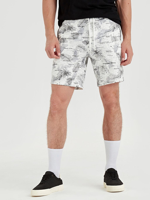 %60 Pamuk %40 Polyester Şort Regular Fit Baskılı Bermuda Şort
