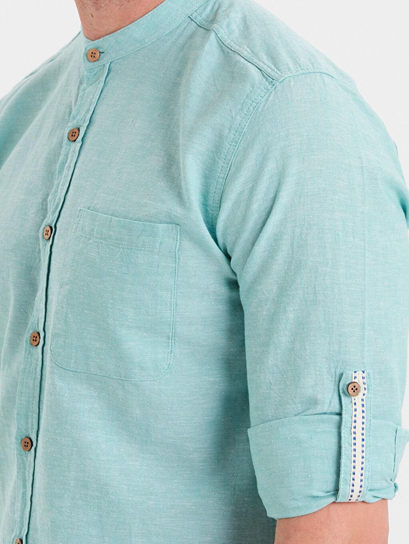 %75 Pamuk %25 Keten Extra Slim Fit Uzun Kollu Keten Karışımlı Gömlek