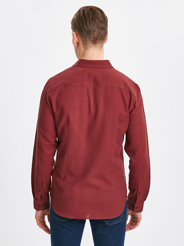 %100 Pamuk Düz En Dar Gömlek Düğmesiz Uzun Kol Ekstra Slim Fit Uzun Kollu Armürlü Poplin Gömlek