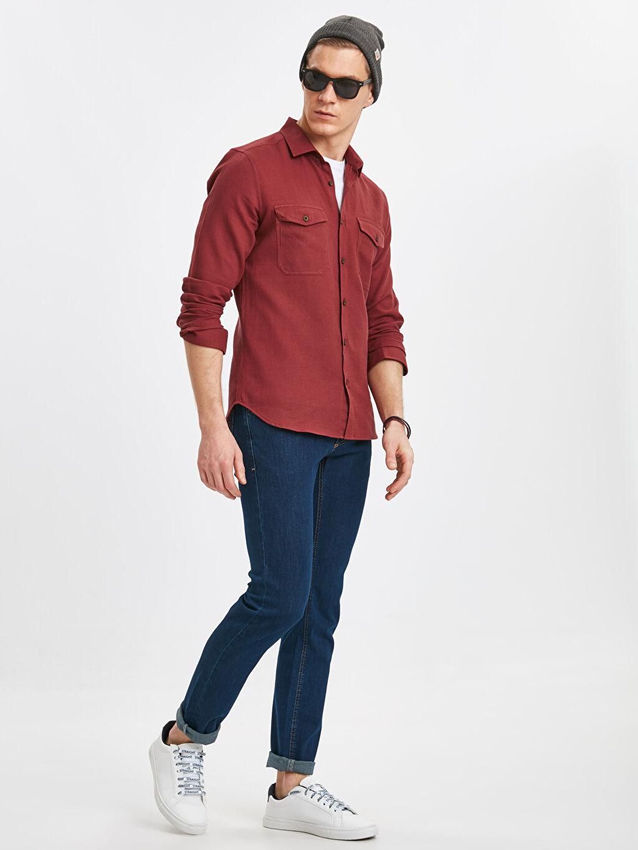 Erkek Ekstra Slim Fit Uzun Kollu Armürlü Poplin Gömlek