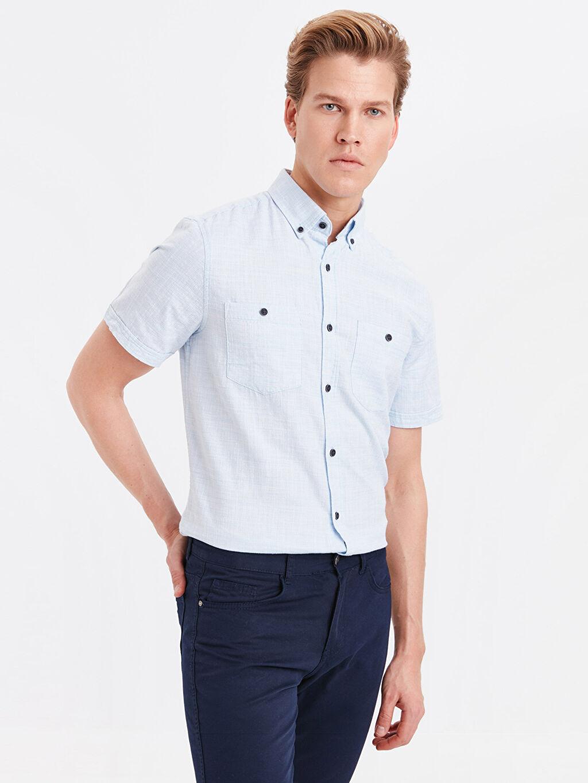 Mavi Regular Fit Kısa Kollu Oxford Gömlek 9SG967Z8 LC Waikiki