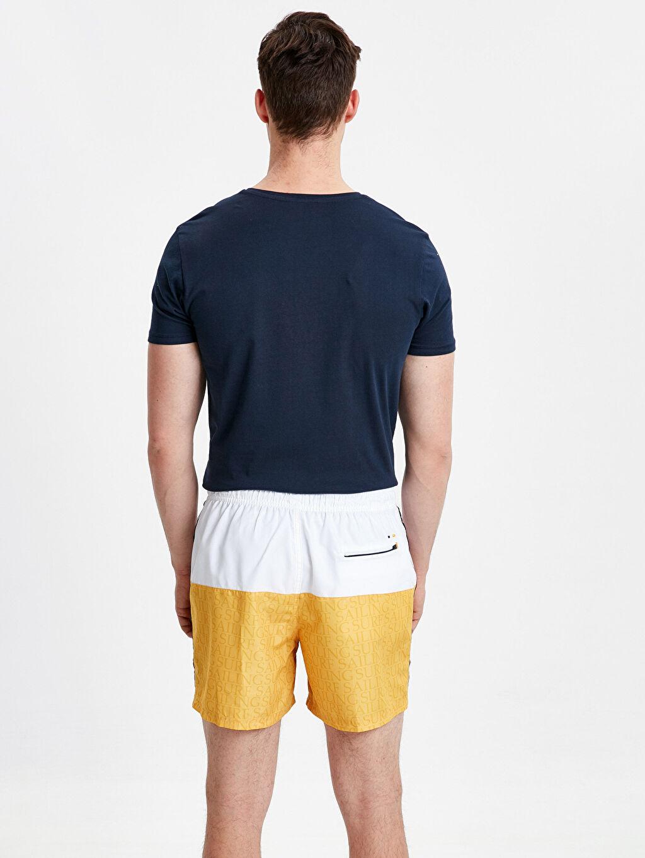 %100 Polyester %100 Polyester  Kısa Boy Standart Kalıp Baskılı Deniz Şortu