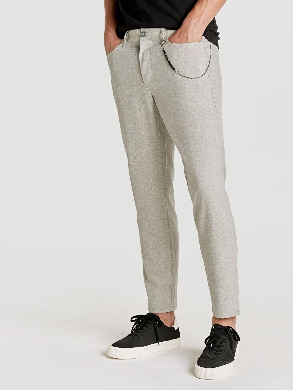%64 Polyester %3 Elastan %33 Viskoz Normal Bel Normal Pilesiz Pantolon Regular Fit Bilek Boy Poliviskon Pantolon