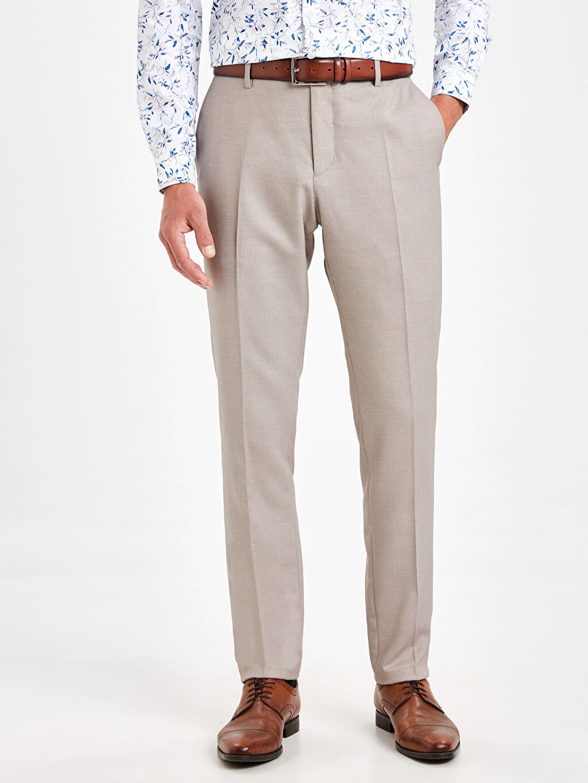 %73 Polyester %2 Elastan %25 Viskoz Normal Bel Pantolon Dar Pileli Slim Fit Armürlü Pantolon