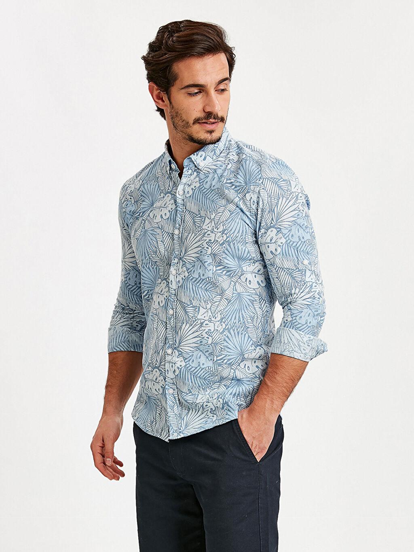 Mavi Extra Slim Fit Uzun Kollu Çiçek Baskılı Poplin Gömlek 9SK558Z8 LC Waikiki