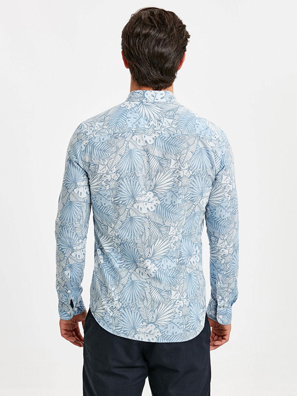 %100 Pamuk Desenli En Dar Uzun Kol Gömlek Düğmeli Extra Slim Fit Uzun Kollu Çiçek Baskılı Poplin Gömlek