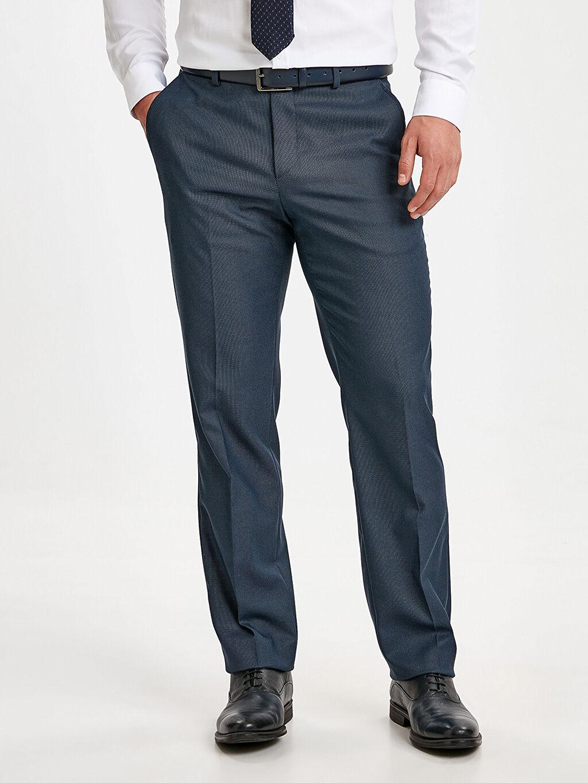 %72 Polyester %2 Elastan %26 Viskoz Normal Bel Dar Pileli Pantolon Slim Fit Dokulu Takım Elbise Pantolonu