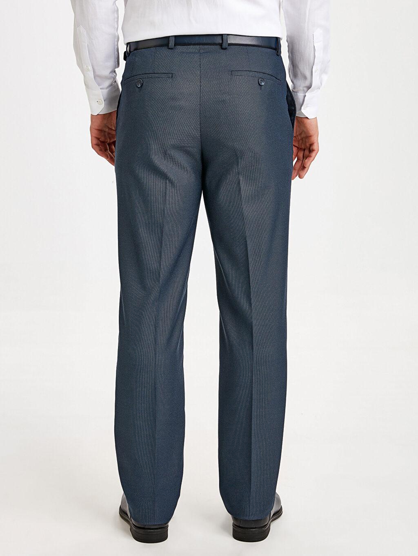 Erkek Slim Fit Dokulu Takım Elbise Pantolonu