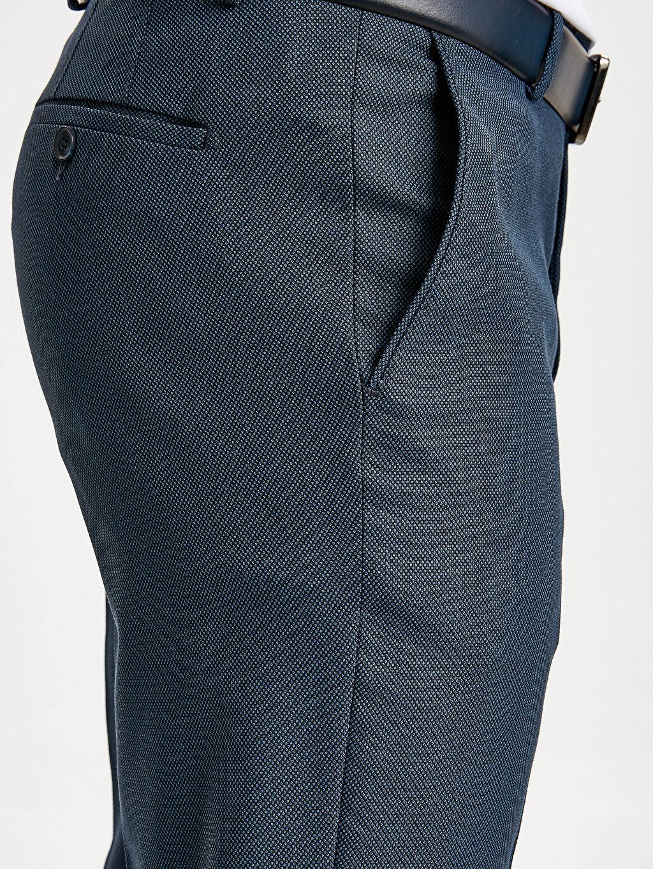 %72 Polyester %2 Elastan %26 Viskoz Slim Fit Dokulu Takım Elbise Pantolonu