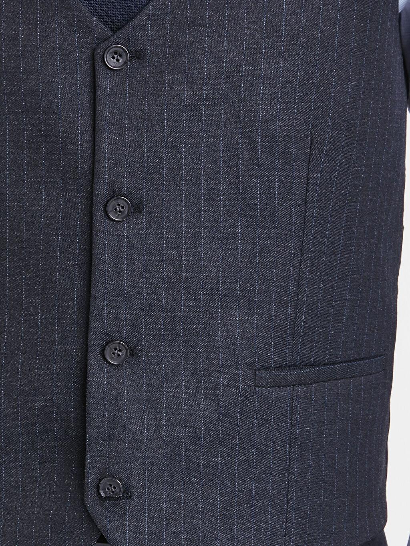 %67 Polyester %32 Viskoz %1 Elastan Dar İnce Klasik Yelek