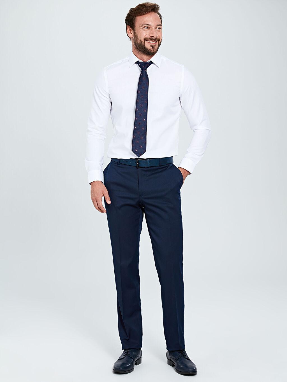 %73 Polyester %3 Elastan %24 Viskoz %100 Polyester  Slim Fit Gabardin Akıllı Kumaş Takım Elbise Pantolonu