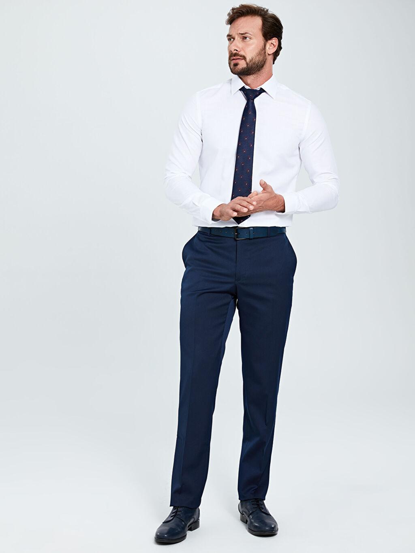 Erkek Slim Fit Gabardin Akıllı Kumaş Takım Elbise Pantolonu