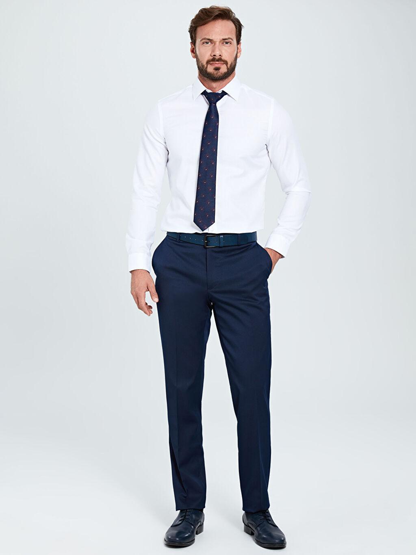 %73 Polyester %3 Elastan %24 Viskoz Slim Fit Gabardin Akıllı Kumaş Takım Elbise Pantolonu