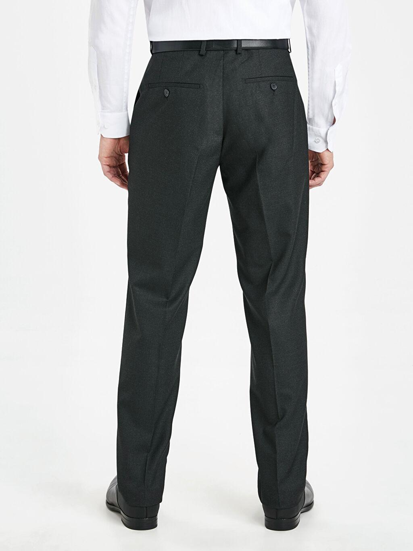 Erkek Slim Fit Armürlü Takım Elbise Pantolonu
