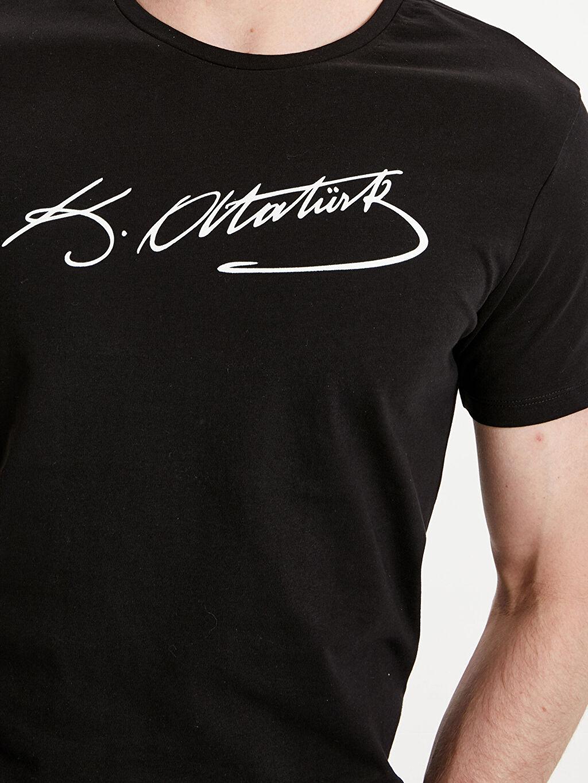 %100 Pamuk Atatürk İmzası Baskılı Tişört