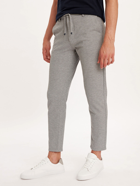 %10 Pamuk %90 Polyester Dar Normal Bel Pilesiz Pantolon Slim Fit Bilek Boy Spor Pantolon