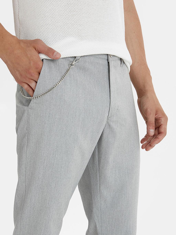 %71 Polyester %28 Viskoz %1 Elastan Slim Fit Bilek Bilek Boy Poliviskon Pantolon