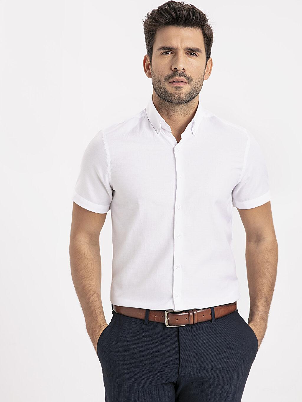Beyaz Slim Fit Kısa Kollu Armürlü Gömlek 9SO947Z8 LC Waikiki