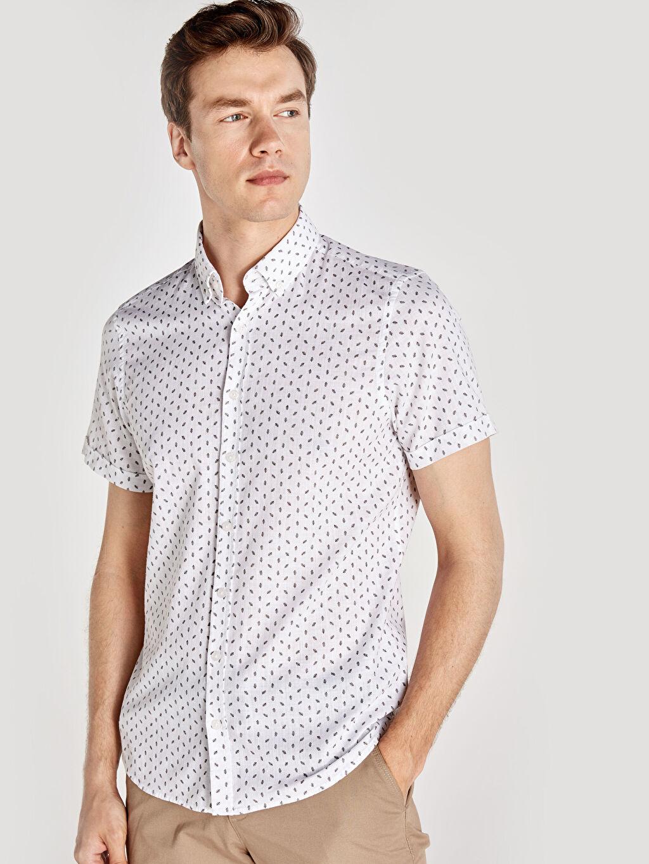 %100 Pamuk Dar Desenli Kısa Kol Gömlek Düğmeli Slim Fit Baskılı Kısa Kollu Poplin Gömlek