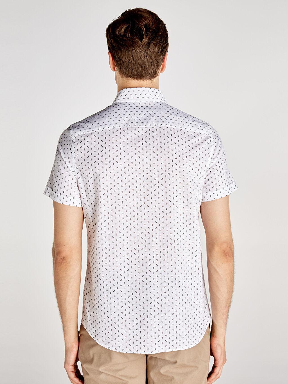 Erkek Slim Fit Baskılı Kısa Kollu Poplin Gömlek