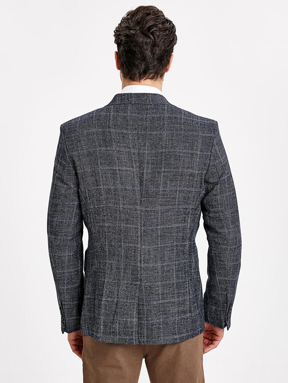 %62 Polyester %38 Viskoz Orta Ceket Standart Standart Kalıp Ekose Blazer Ceket