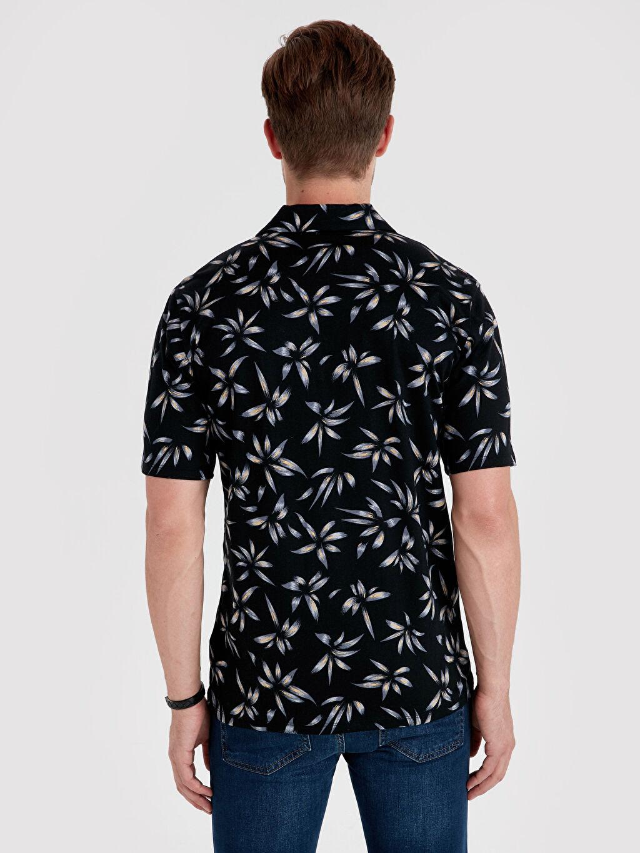 %100 Pamuk Dar Baskılı Kısa Kol Tişört V yaka Slim Fit Çiçek Baskılı Kısa Kollu Tişört