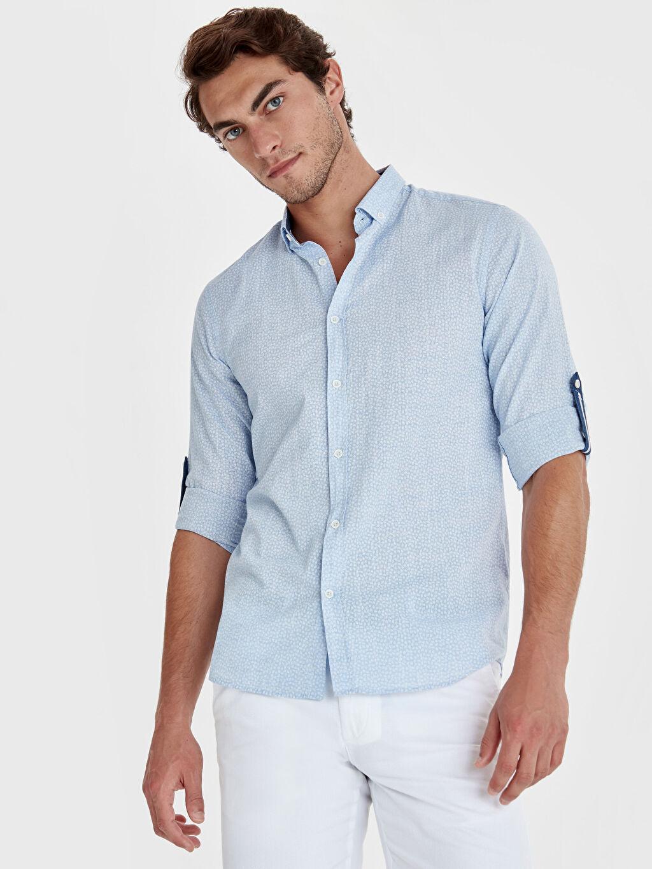 %100 Pamuk Dar Desenli Uzun Kol Gömlek Düğmeli Slim Fit Çiçek Desenli Uzun Kollu Poplin Gömlek