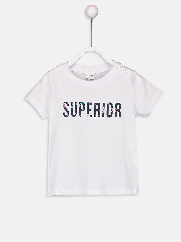 Beyaz Erkek Bebek Yazı Baskılı Pamuklu Tişört 9SQ344Z1 LC Waikiki