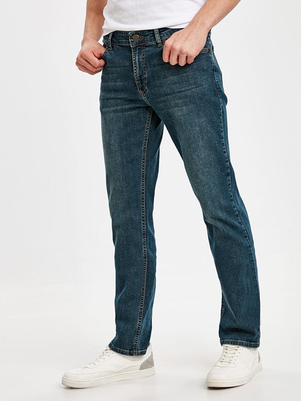 %99 Pamuk %1 Elastan Normal Bel Jean Rahat 790 Rahat Kalıp Jean Pantolon