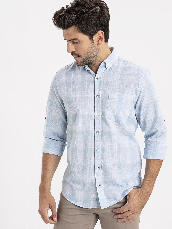 Mavi Regular Fit Ekose Uzun Kollu Poplin Gömlek 9SS796Z8 LC Waikiki