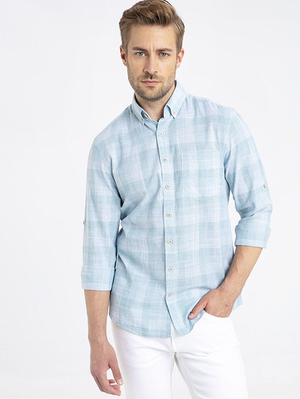 %100 Pamuk Normal Uzun Kol Ekoseli Gömlek Düğmeli Regular Fit Ekose Uzun Kollu Poplin Gömlek
