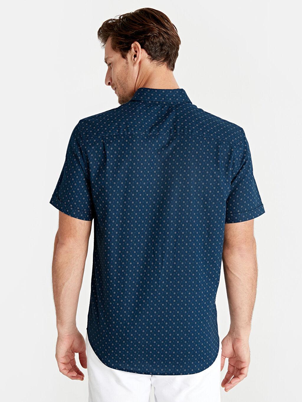 Erkek Regular Fit Baskılı Kısa Kollu Oxford Gömlek