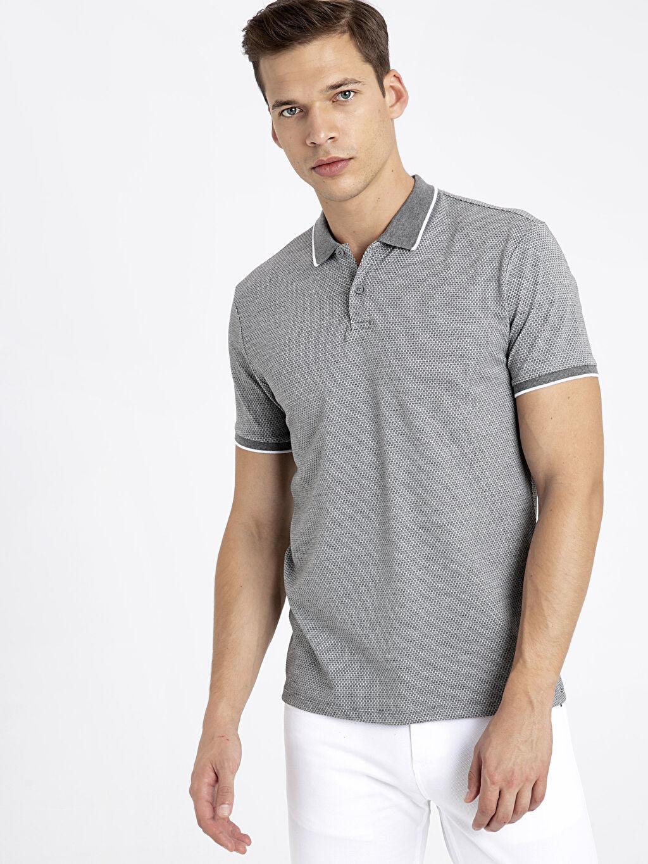 %39 Pamuk %58 Polyester %3 Elastan Dar Kısa Kol Tişört Polo Düz Slim Fit Polo Yaka Kısa Kollu Jakarlı Tişört