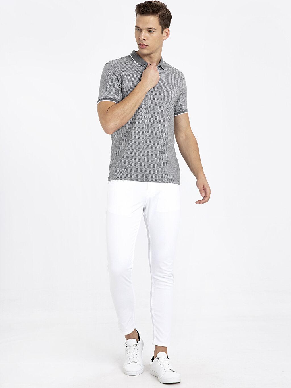 %39 Pamuk %58 Polyester %3 Elastan Slim Fit Polo Yaka Kısa Kollu Jakarlı Tişört