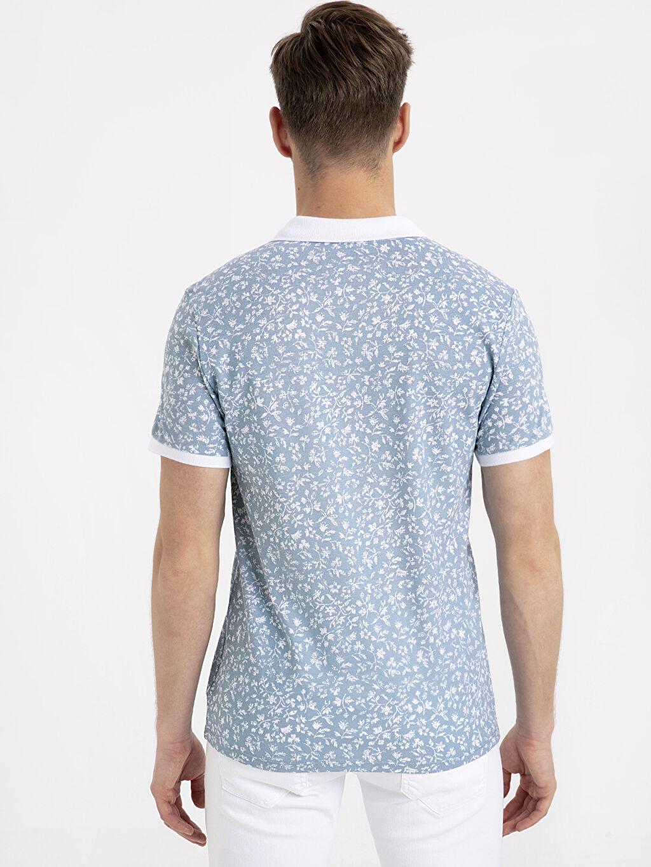 %100 Pamuk Dar Baskılı Kısa Kol Tişört Polo Slim Fit Polo Yaka Baskılı Kısa Kollu Pike Tişört
