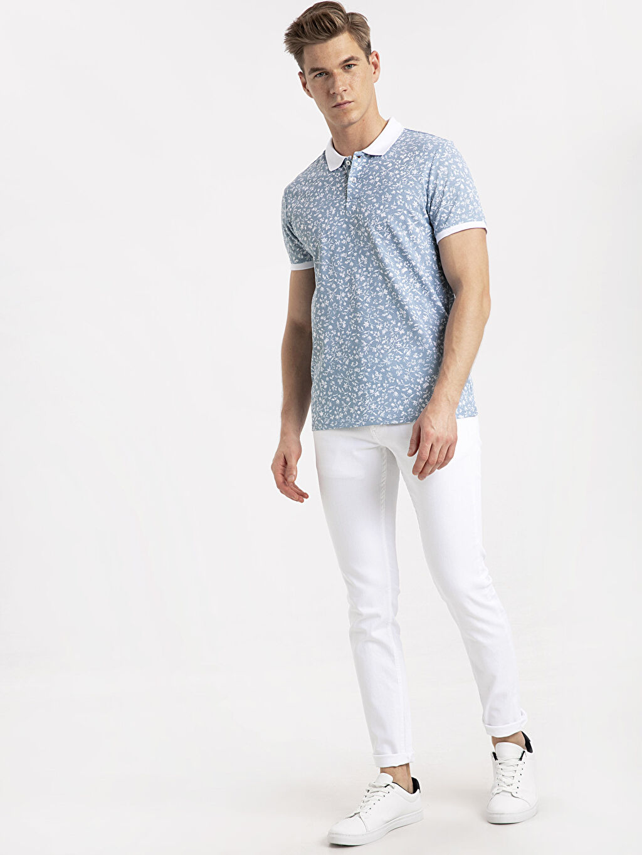 Erkek Slim Fit Polo Yaka Baskılı Kısa Kollu Pike Tişört