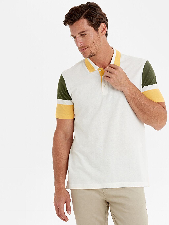 %100 Pamuk Çizgili Standart Kısa Kol Tişört Polo Polo Yaka Çizgili Kısa Kollu Pike Tişört