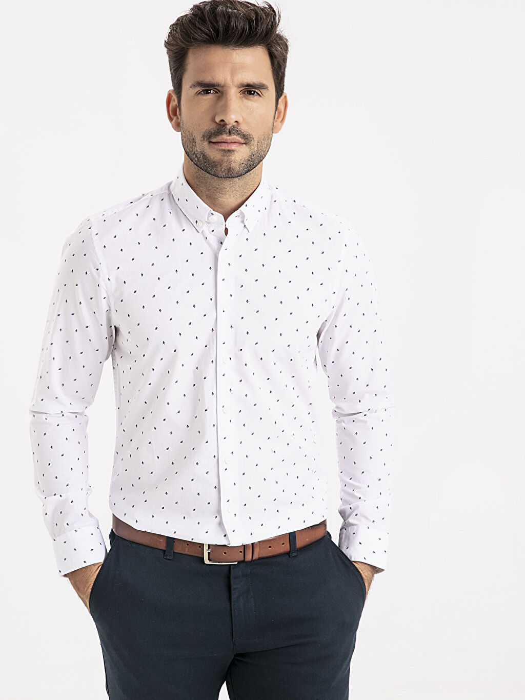 Beyaz Slim Fit Desenli Poplin Gömlek 9SU224Z8 LC Waikiki