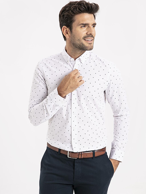 %100 Pamuk Dar Desenli Uzun Kol Gömlek Düğmeli Slim Fit Desenli Poplin Gömlek