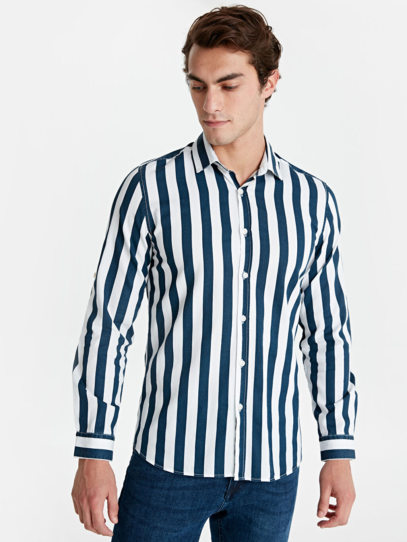 %100 Pamuk Uzun Kol Çizgili En Dar Gömlek Düğmesiz Ekstra Slim Fit Çizgili Uzun Kollu Gabardin Gömlek