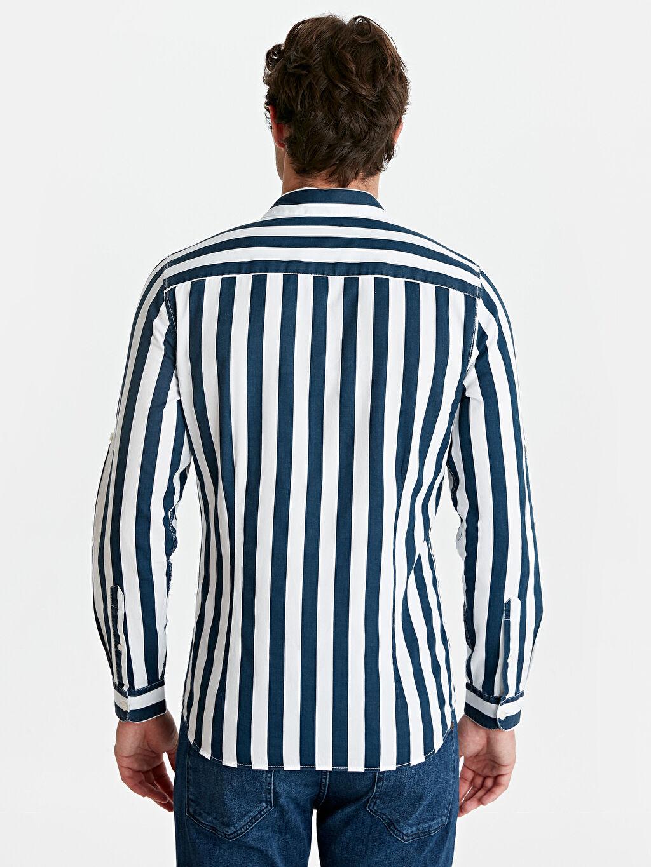 Erkek Ekstra Slim Fit Çizgili Uzun Kollu Gabardin Gömlek