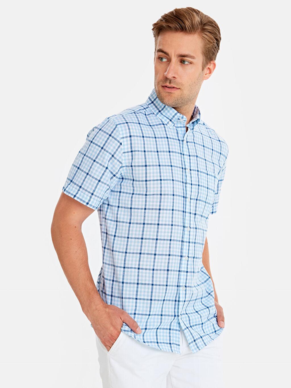 Mavi Regular Fit Pamuklu Ekose Desenli Gömlek 9SU463Z8 LC Waikiki