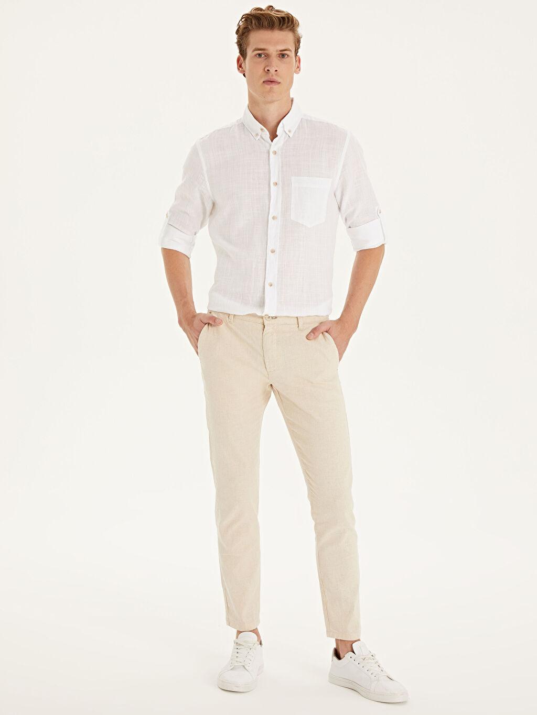 Bej Slim Fit Keten Karışımlı Bilek Boy Pantolon 9SU950Z8 LC Waikiki