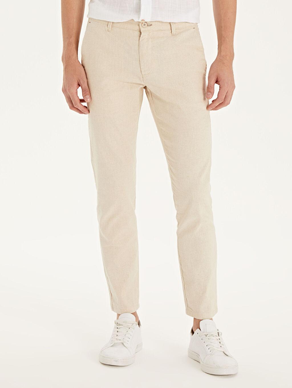 %55 Pamuk %45 Keten Dar Normal Bel Pilesiz Pantolon Slim Fit Keten Karışımlı Bilek Boy Pantolon