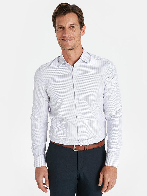 Lila Slim Fit Çizgili Uzun Kollu Gömlek 9SV240Z8 LC Waikiki