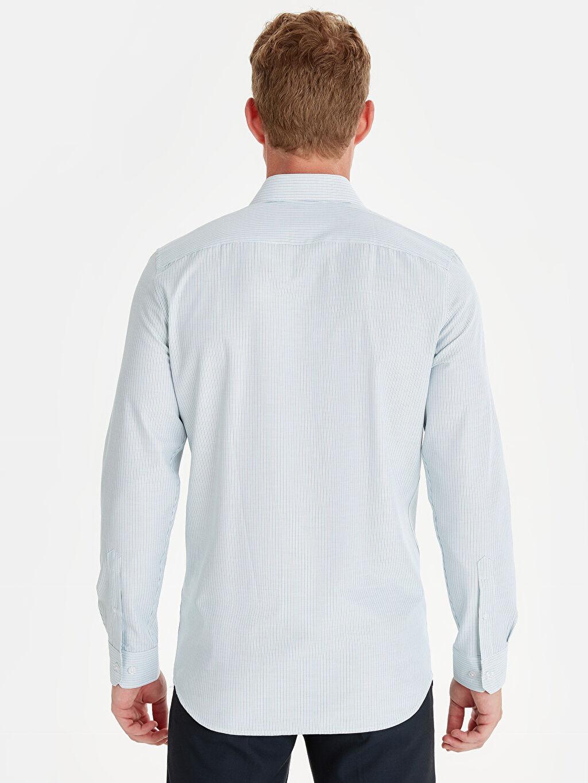 Erkek Slim Fit Çizgili Uzun Kollu Gömlek