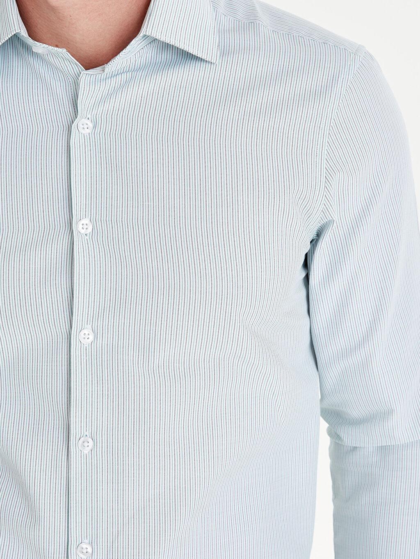 %54 Pamuk %46 Polyester Slim Fit Çizgili Uzun Kollu Gömlek